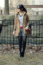 brown vintage bag - black suede sam edelman boots - dark khaki Zara jacket
