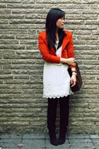 carrot orange H&M blazer - black Nine West boots - ivory La Quaintrelle dress