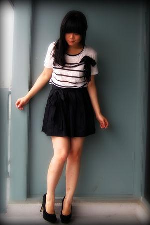 white striped Zara top - black Dolce Vita shoes - black Urban Outfitters skirt