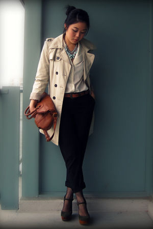 beige Zara coat - white blouse - black joe fresh style pants - brown the sak bag