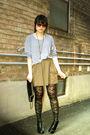 Gray-american-apparel-sweater-green-zara-skirt-black-ardene-stockings-blac