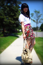 white Old Navy t-shirt - red Forever 21 skirt - beige Urban Outfitters purse - b