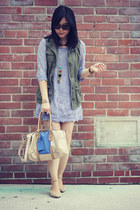 periwinkle Oasapcom dress - H&M bag - olive green Old Navy vest