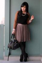 black two-tone Zara sweater - black Urban Outfitters bag