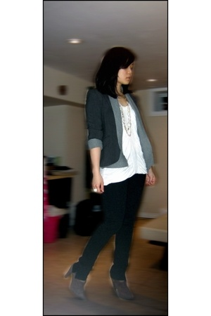 Zara top - Ebay sweater - Smart Set blazer - Zara jeans - Zara shoes