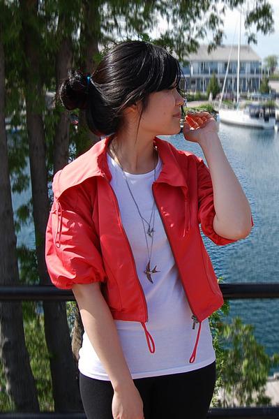 brown shoes - orange jacket - brown purse - beige skirt - white t-shirt