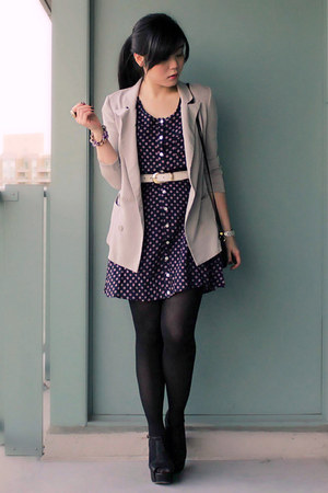 navy polkadot Egocloset dress - silver Silence & Noise blazer