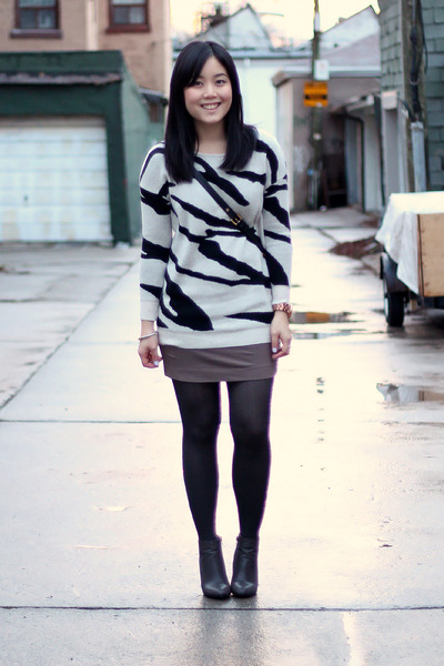 gray ankle boots Forever 21 boots - zebra print sweater