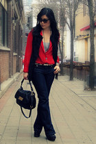navy parasuco jeans - black Marc by Marc Jacobs bag - red thrifted blouse - blac