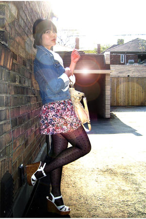 blue H&amp;M jacket - white blouse - pink Zara skirt - black H&amp;M stockings - white F