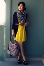 Yellow-dress-gray-h-m-scarf-light-purple-from-mom-bag-black-jeffrey-campbe