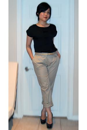 black Aldo shoes - gold Forever21 belt - beige H&M pants - black Bedo top