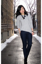 black Aldo shoes - blue Forever 21 jeans - gray Zara sweater