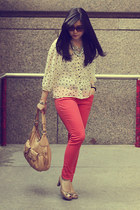 red H&M jeans - nude Cole Haan bag - eggshell polkadot H&M blouse