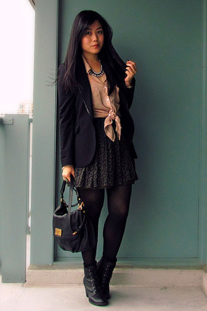 peach American Apparel blouse - black Spring boots - black Zara blazer
