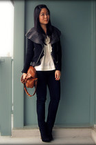 navy Seven7 jeans - black Forever 21 jacket - brown the sak bag - off white H&M