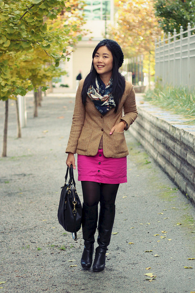 camel tweed blazer - black Aldo boots - printed scarf - black coach bag