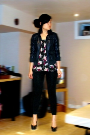 H&M jacket - H&M top - leggings - Aldo shoes