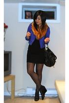 blue H&M jacket - orange H&M scarf - black American Apparel dress - black H&M st