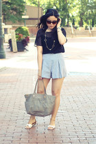 light blue American Apparel shorts - silver Marc by Marc Jacobs bag