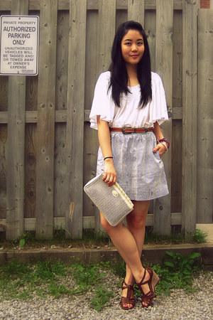 beige vintage bag - brown Aldo sandals - light blue Urban Outfitters skirt - bro