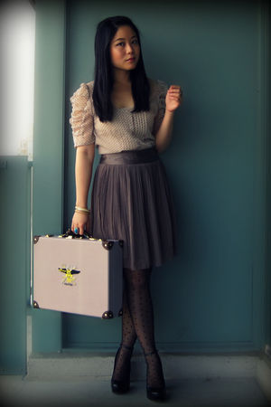 beige Urban Outfitters blouse - brown H&M skirt - black H&M tights - black Aldo