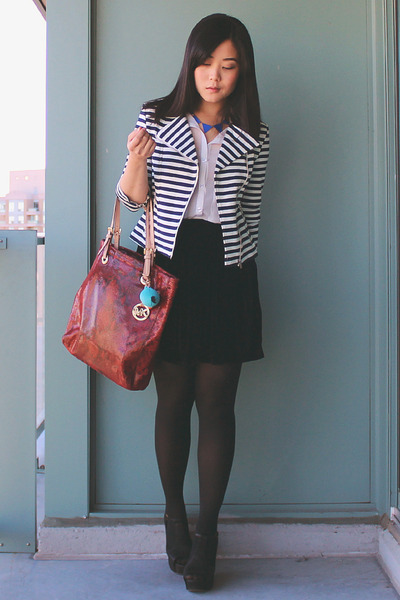 navy striped Forever 21 jacket - brick red Michael Kors bag - white OASAP blouse