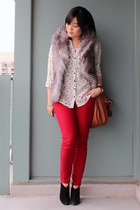 silver BB Dakota vest - black sam edelman boots - ruby red Old Navy jeans