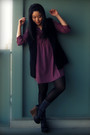 Purple-urban-outfitters-dress-black-forever-21-vest-black-h-m-tights-gray-