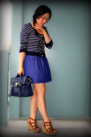 brown wedges Aldo shoes - blue Uniqlo dress - blue purse Forever 21