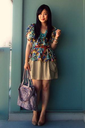 H&M blouse - Aldo shoes - from mom bag - H&M necklace - H&M skirt - H&M belt