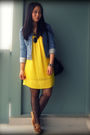 Blue-h-m-jacket-gold-winners-dress-black-urban-outfitters-bag-black-foreve