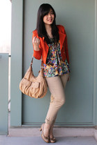 floral print H&M blouse - carrot orange cropped H&M blazer