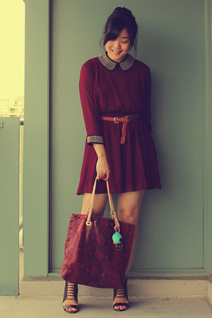brick red Michael Kors bag - maroon Dahlia dress - dark brown H&M belt