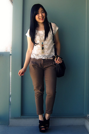 Forever 21 blouse - Marc by Marc Jacobs bag - Zara pants - Forever 21 necklace