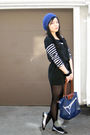 Black-forever-21-dress-black-zara-top-blue-longchamp-purse-silver-shoes-