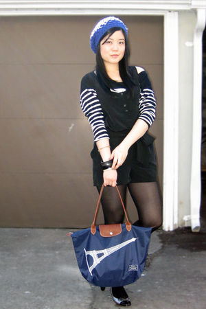 black Forever 21 dress - black Zara top - blue longchamp purse - silver shoes - 