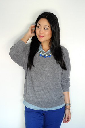 blue Old Navy jeans - sky blue Vero Moda top - blue Oasapcom necklace