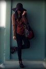 Black-uniqlo-jeans-dark-brown-h-m-hat-dark-brown-aldo-bag-burnt-orange-h-m