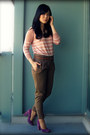 Salmon-h-m-sweater-amethyst-nine-west-heels-army-green-zara-pants-brown-za