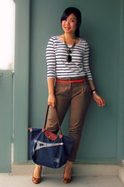 navy longchamp bag - army green Zara pants - red H&M belt