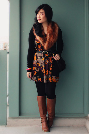 burnt orange H&M scarf - brown Aldo boots - multicolor FCUK dress