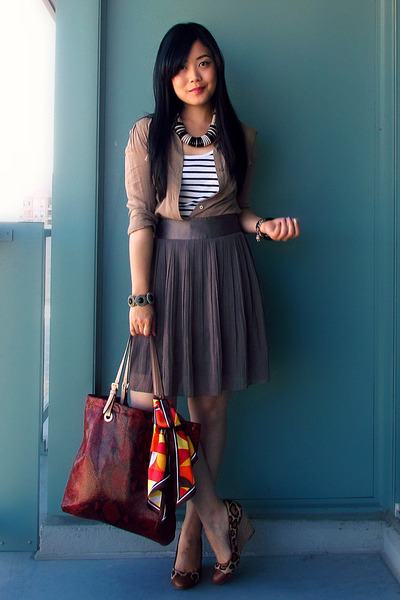 light brown pleated H&amp;M skirt - dark khaki Jacob shirt - red Michael Kors bag