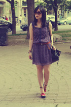 deep purple Old Navy dress - black Urban Outfitters bag