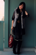 black Ugg boots - ruby red Michael Kors bag - silver BB Dakota vest
