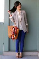 blue jeans - silver Silence & Noise blazer - bronze H&M bag - white H&M blouse