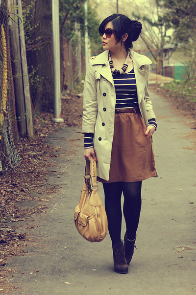 beige Zara coat - dark brown Luxury Rebel boots - camel Cole Haan bag