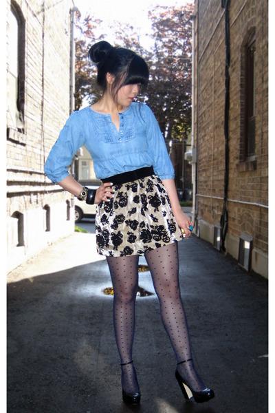 blue polkadot H&M stockings - black Aldo shoes - blue worn as top H&M dress