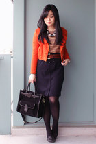 navy H&M necklace - bronze joe fresh style sweater - carrot orange H&M blazer