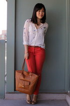 red H&M pants - brown H&M bag - white Oasapcom blouse - tan aerosoles heels